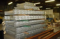 Stacks of galvanized railing