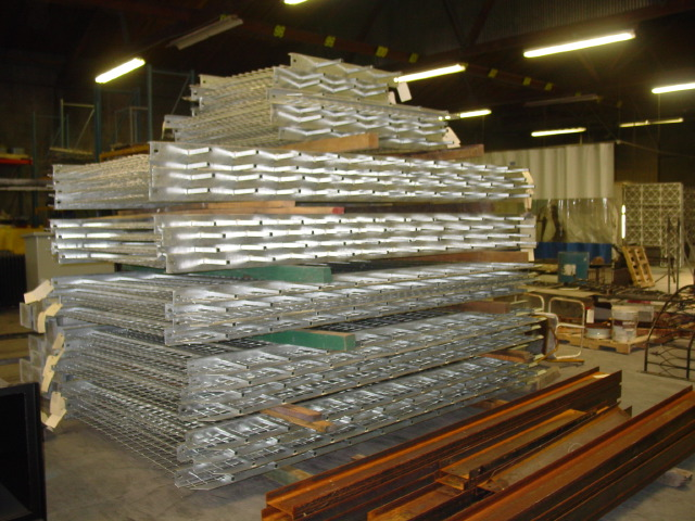 Stack of galvanized railing