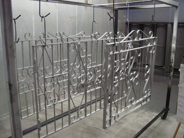 Sandblasted railing ready for powder coating.