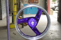 Masked and Powder Coated Motorcycle Wheel